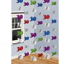 Blister de 6 Colgantes de papel de aluminio con el número 30