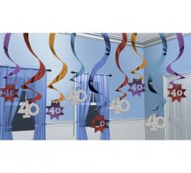 Pack de 15 Colgantes de decoración Party con el número 40