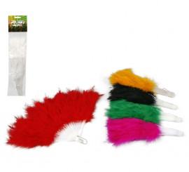 Abanicos de plumas de colores surtidos 28 cm.