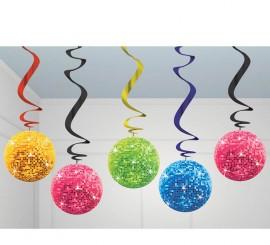 Bolsa de 5 colgantes bolas de la Disco decorativos de 60 cm