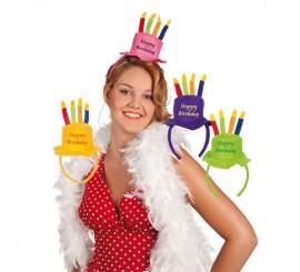 Diadema Tarta de Cumpleaños con velas 4 colores surtidos
