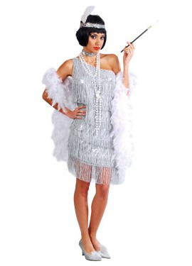 Disfraz de Charlestón plata para mujer