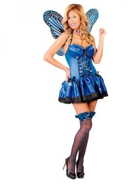Disfraz para mujer de Mariposa Azul con alas talla 38/40