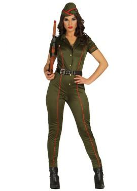 Disfraz de Soldado o Militar Caqui para Mujer