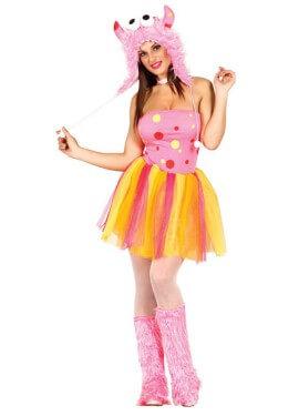 Disfraz de Furry Monster pink para mujer