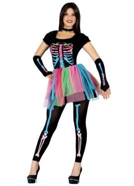 Disfraz de Esqueleto Tutú multicolor para mujer