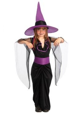 Disfraz Bruja negro-morado para Halloween 4-6 años