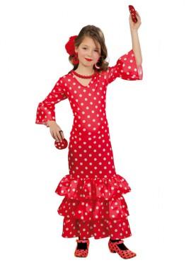 Disfraz de Flamenca rojo para niñas