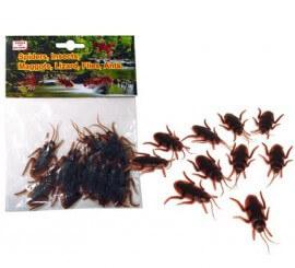 Bolsa de 10 Cucarachas blandas para decorar en Halloween
