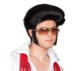 Peluca con tupé y patillas de Elvis o Rockero