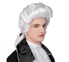Peluca Barroca blanca de hombre con lazo