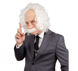 Peluca de Einstein con bigote y gafas