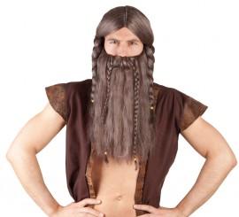 Peluca y Barba de Vikingo Harald con trenzas