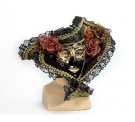 Máscara Veneciana negra con sombrero y flores