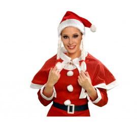 Gorro de Mama Noel con trenzas peluche Navidad