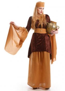Costume da locandiere medievale marrone per una donna
