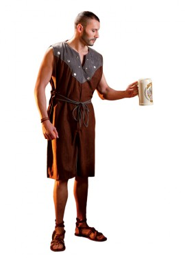 Déguisement ou tunique marron médiévale pour homme
