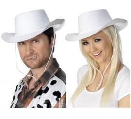 Sombrero de Cowboy color Blanco flocado para hombre o mujer