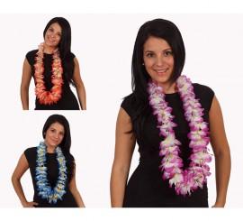 Collar Hawaiano flores de tela 3 colores surtidos