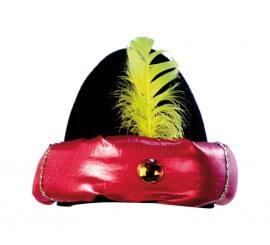 Gorro de Paje negro borde rojo y pluma amarilla