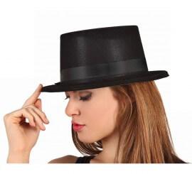 Sombrero de copa o Chistera elegante flocada negra