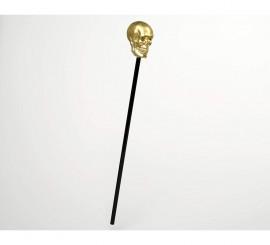 Bastón Calavera dorada 57cm para Halloween