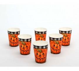 Set de 6 Vasos Calabaza de papel para Halloween