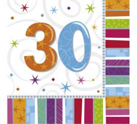 Bolsa de 16 Servilletas Birthday con el número 30 de 33x33cm
