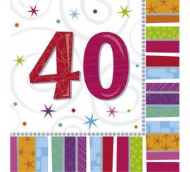 Pack de 16 Serviettes Birthday Numéro 40 de 33x33cm