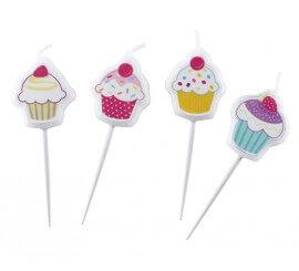 Blister de 4 Mini Velas en forma de Cupcake con palito
