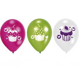 Pack de 6 Ballons en Latex Cupcake