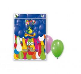 Bolsa de 100 globos colores variados