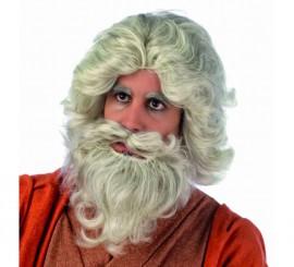 Peluca y barba de Moises Deluxe para hombre