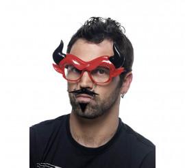 Gafas de Diablo con Bigote, Mosca y Cuernos