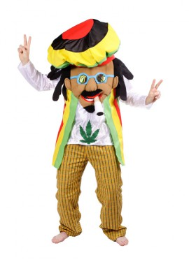 Disfraz de Rastafari para adultos con la cara tapada