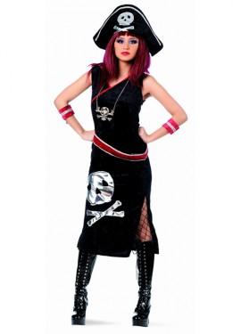 Disfraz de Pirata Askanja Negra Deluxe para mujer