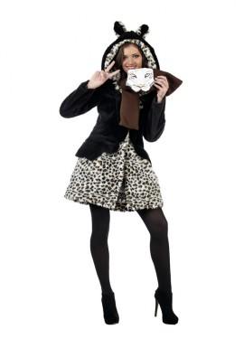 Disfraz de Leopardo Abrigo marrón Deluxe para mujer