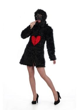 Disfraz de Gorila Abrigo negro con Corazón Deluxe para mujer