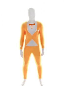 MORPHSUIT modelo traje naranja fluor con pajarita