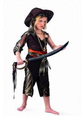 Déguisement de Fille Pirate Aventurière Deluxe pour enfants