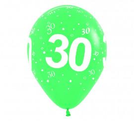 Bolsa de 10 Globos de látex con el número 30 serigrafiado