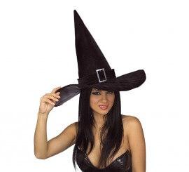 Sombrero de Bruja lujo con hebilla para Halloween 806a276b739