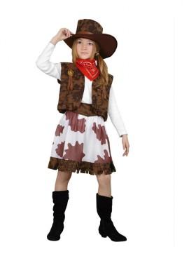 Disfraz de Vaquera marrón y blanco para niña