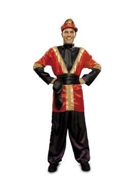 Disfraz de Paje rojo barato para hombre