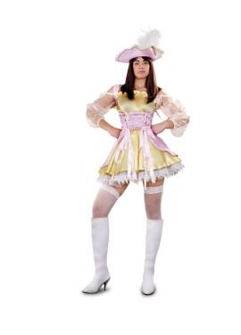 Disfraz de Moza Pirata rosa y dorado para mujer talla M-L