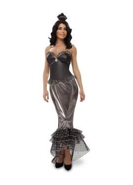 Disfraz de Sirena negro - plata talla M-L