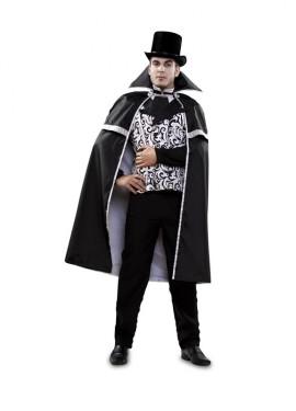 Disfraz de Vampiro Blanco y Negro para hombre talla M-L