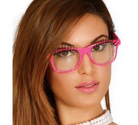 Gafas con adorno de pestañas fucsia