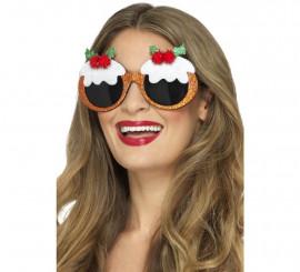 Gafas de Pudin de Navidad con acebo y bayas