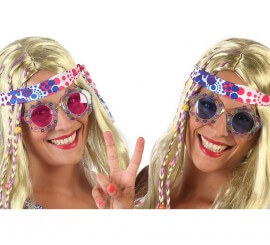 Gafas Hippie con Flores en 2 colores surtidos